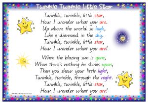 Twinkle Twinkle Little Star Nursery Rhyme | k3teacherresourcesblog